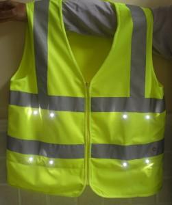 LED light safey vest front view green-2
