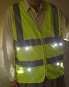 LED light safey vest front view green