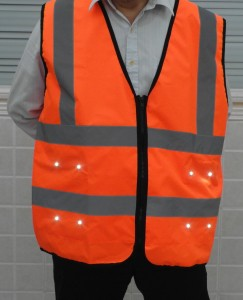 LED light safey vest front view orange