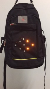 executive backpack with LED turning signal-light right light