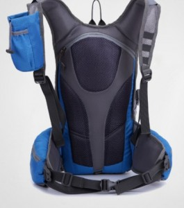 hydrated backpack  blue led light turning signal back view