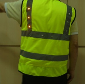 LED light turning signal safety vest green left yellow