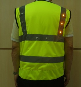 LED light turning signal safety vest green right yellow