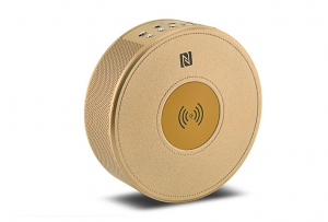 Wireless charger bluetooth speaker golden side view
